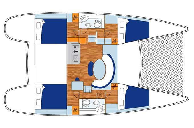 Katamarāna Lagoon 380 plānojums